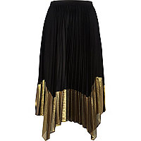 Black metallic gold panel pleated midi skirt