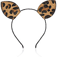Black leopard kitten ears head band