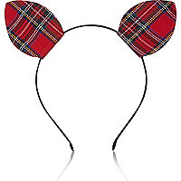 Red tartan kitten ears head band