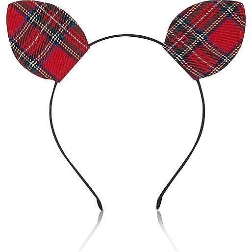 Red tartan kitten ears head band