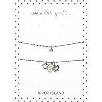 Silver tone cluster bracelet pack