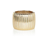 Gold tone corrugated metal bangle