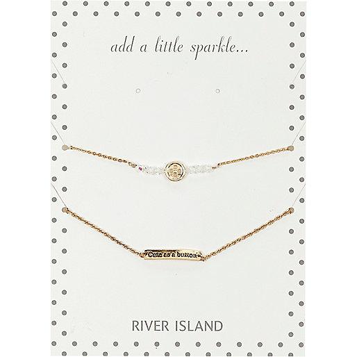 Gold tone cute as a button bracelet pack