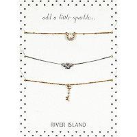 Gold tone lucky charm bracelet pack