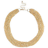 Gold tone multi chain statement necklace