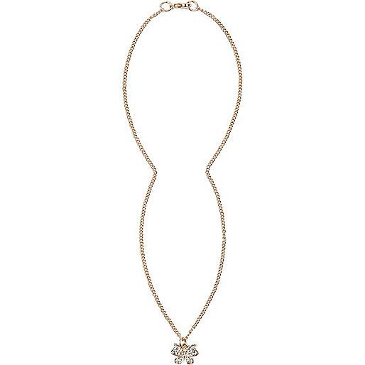 Gold tone encrusted butterfly bracelet