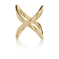 Gold tone cross midi ring