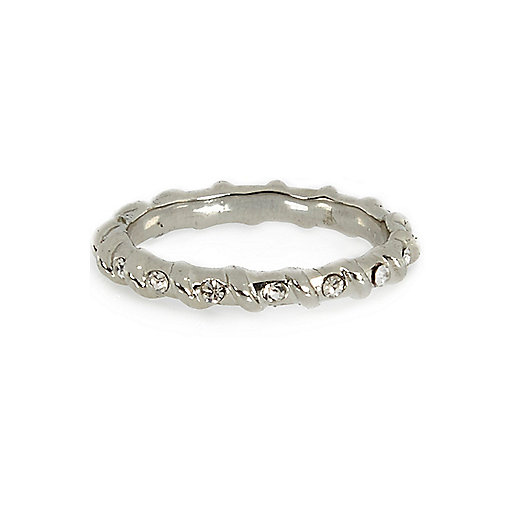 Silver tone encrusted twisted thumb ring