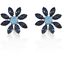 Navy gem stone flower stud earrings