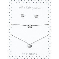 Silver tone pave disc matching jewellery set