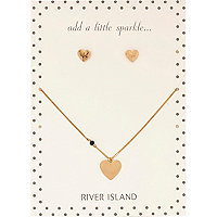 Gold tone heart stud and necklace set
