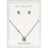 Silver tone clover necklace and earrings pack