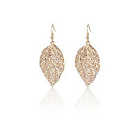 Gold tone diamante leaf drop earrings