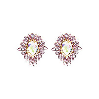Pink teardrop surround stud earrings