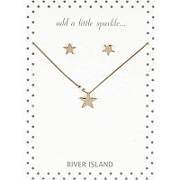 Gold tone star necklace and earrings set