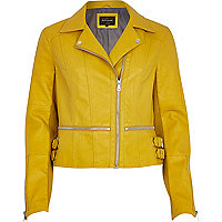 Dark yellow zip waist biker jacket