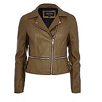 Khaki zip waist biker jacket