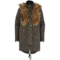 Khaki waxed cotton faux fur trim parka jacket