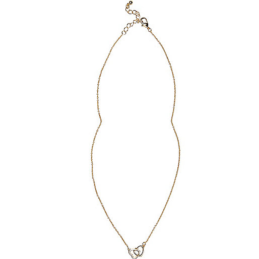 Gold tone interlinked heart necklace