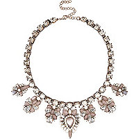 Light pink gem stone statement necklace