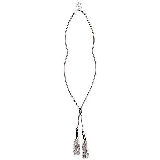 Silver tone tassel lariat necklace