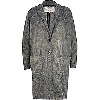 Metallic lurex tweed oversized jacket