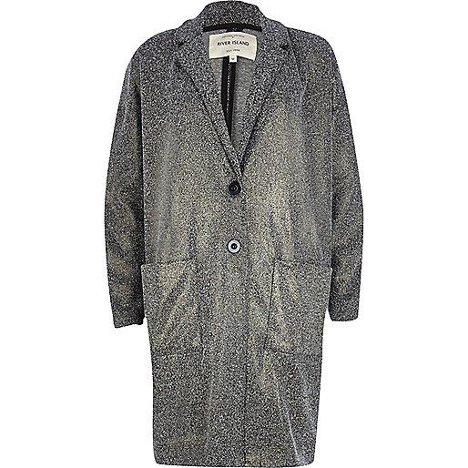 Metallic lurex tweed oversized jacket