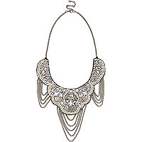 Silver tone draped chain statement necklace
