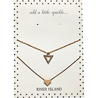 Gold tone encrusted triangle necklace pack