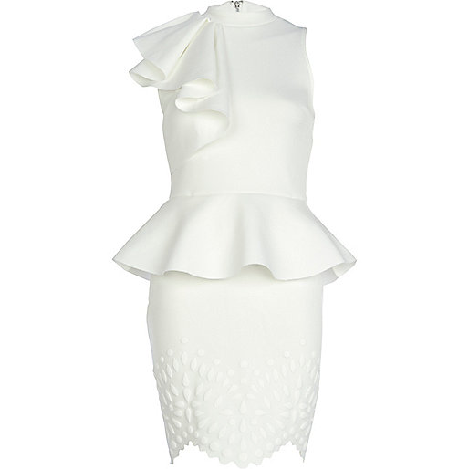 White asymmetric frill peplum dress