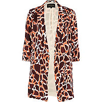 Orange animal print duster jacket