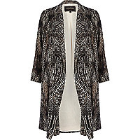 Black abstract print duster jacket