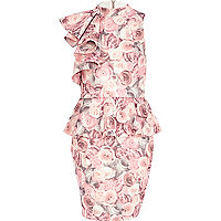 Pink rose print asymmetric frill dress