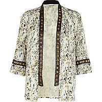 Cream ditsy print embellished kimono