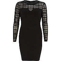 Black check mesh insert bodycon dress