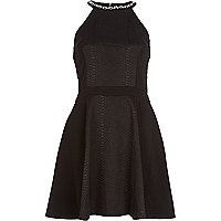 Black racer front embellished skater dress