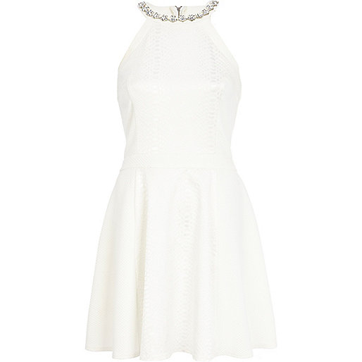 Cream racer front embellished skater dress