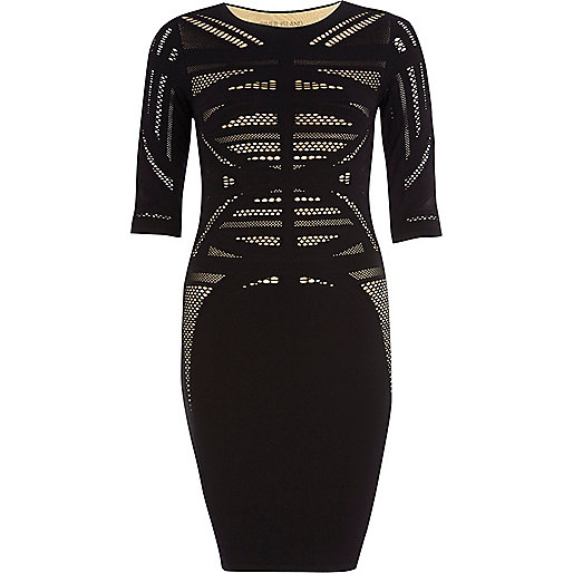 Black laddered crochet bodycon dress