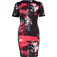 Black floral print scuba bodycon dress