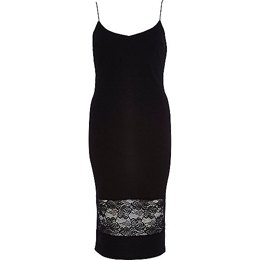 Black lace hem slip dress