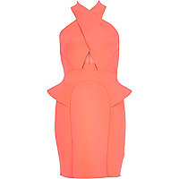 Bright pink halter neck cut out peplum dress