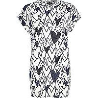 Navy heart print heatseal oversized t-shirt