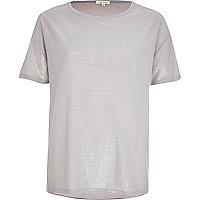 Grey metallic front t-shirt