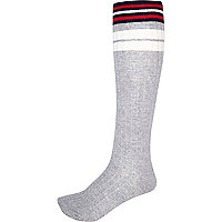 Grey marl colour block knee high socks