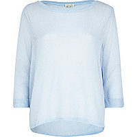 Light blue lightweight knit top