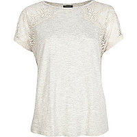 Grey marl lace sleeve t-shirt