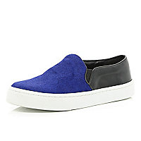 Bright blue pony skin panel plimsolls