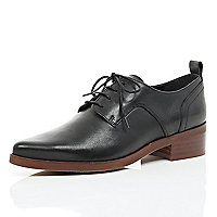 Black lace up block heel brogues