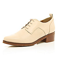 Nude lace up block heel brogues