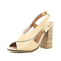Nude leather cross strap block heel sandals